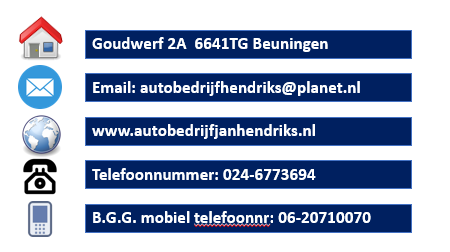 Adresgegevens autobedrijf Jan Hendriks